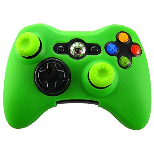 Pandaren Piel silicona para Xbox 360 Controller (verde) + pulgar tapa palo agarre x 2