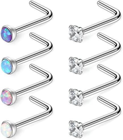 Ruifan 18G 316L Surgical Steel 2 5mm Mix Color Jeweled Opal Clear CZ Nose L Shaped Rings Studs product image