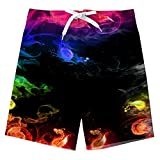 FanientPantalones Cortos de Playa para niños Pantalones Cortos de Surf Bañadores para niños Traje de baño para niños Patrón de Humo Pantalones Cortos para niños Ropa Deportiva