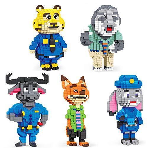 Juguetes De Bloque De Construcción De Disney - Modelo De Figuras De Personajes De Animales De Dibujos Animados De 5Pcs, Regalo De Juguetes De Construcción Educativa