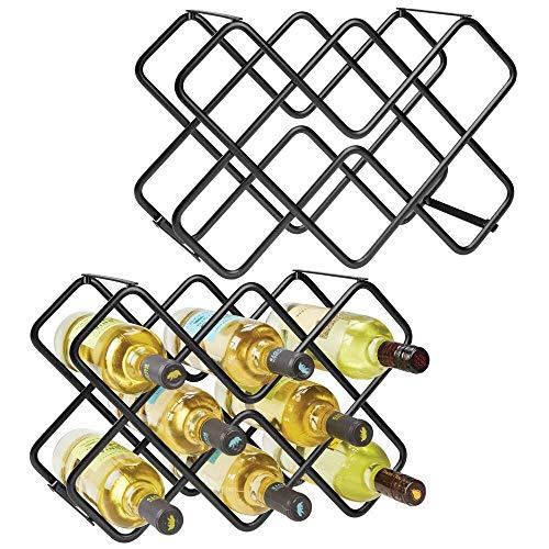 mDesign 2er-Set Wein- und Flaschenregal – schönes Weinregal mit 3 Ebenen aus Metall für bis zu 16 Flaschen – freistehendes Regal für Weinflaschen oder andere Getränke – schwarz