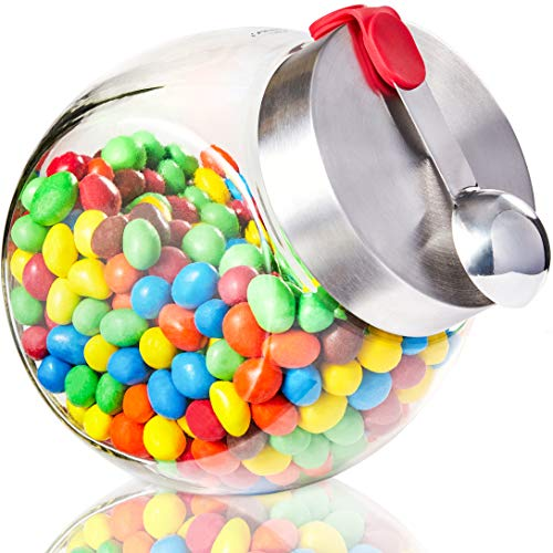 Juvale 58 Ounce Glass Penny Jar with Magnetic Stainless Steel Lid and Scoop for Candy, Dry Goods, and Food Storage