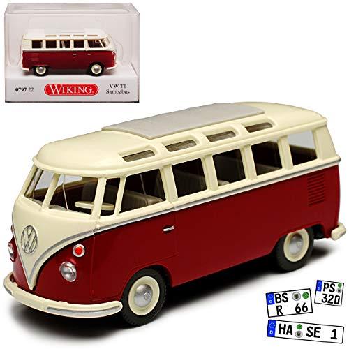 Wiking Volkwagen T1 Rot Weiss Personen Transporter Samba Bully Bus 1950-1967 H0 1/87 Modell Auto