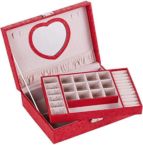 Joyero para mujer y niña, organizador de joyas de 2 niveles de piel sintética, tamaño mediano, caja de almacenamiento de joyas con espejo y cerradura, rojo