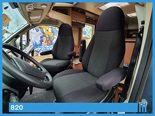 Maß Sitzbezüge kompatibel mit Wohnmobil Fahrer & Beifahrer Farbnummer: 820 (schwarz)