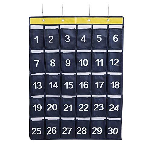 Tragbar 30 Taschen Klassenzimmer Tasche Hängender Organisator Wasserdicht Tasche Diagramm mit 4 Haken für Handys und Taschenrechner Organizer Wand (Navy blau)