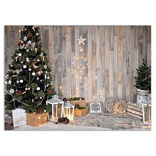 Fondo de Interior de Madera rústica de Navidad Allenjoy para fotografía de Invierno Cabina de Estudio fotográfico de bebé Accesorios de fotógrafo de sesión de Fotos 210x150cm