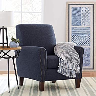 Stone & Beam Modern Woven Farmhouse Throw Blanket, Soft and Cozy, 50  x 60 , Blue and White