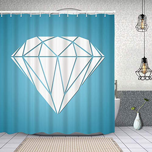 YANAIX Cortina Ducha Impermeable,Vector de Diamante Abstracto,Impresión de Cortinas baño con 12 Ganchos 180x180cm