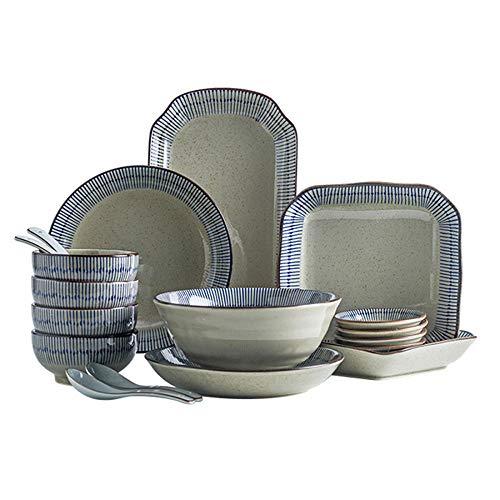 WHWH Geschirrset Haushalt 2 Personen Geschirrschale 4 Personen Keramik Geschirr Teller-18-teiliges Set