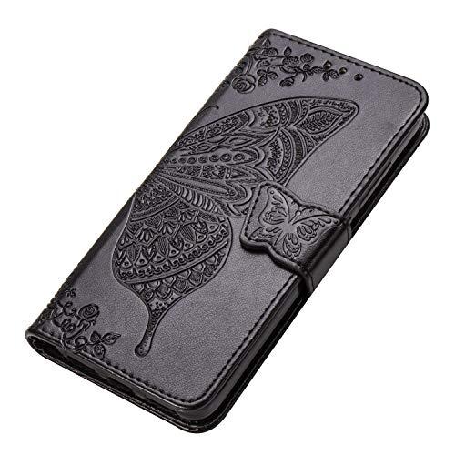 HAOYE Hülle für Xiaomi Redmi Note 8T Hülle, Schmetterling Geprägtem PU Leder Magnetische Filp Handyhülle mit Kartensteckplätzen/Standfunktion, Anti-Rutsch Schutzhülle. Schwarz