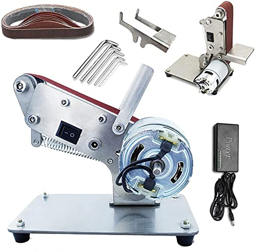 wsbdking Electric Belt Sander, DIY Mini Foldable Knife Apex Edge Sharpener Polishing Grinding Machine with 10 Sanding Belts, Knife Angle Fixer and 7-Speed Control (Color : 775)