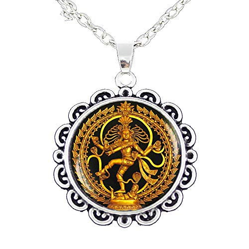Religion Schmuck Vintage Nataraja Kette Halskette Glas Cabochon Tanzen Shiva Charm Anhänger Indien Buddhistischer Schmuck