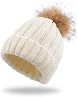 Warm Knitted Baby Beanie Classic Winter Kids Hat with Pompom Toddler Boys Girls Cap