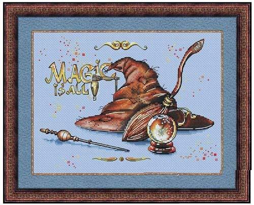 Magic is All - Juego de punto de cruz (hilo de algodón egipcio, 14 ct, 150 x 110 puntadas, 36 x 31 cm, punto de cruz de algodón)