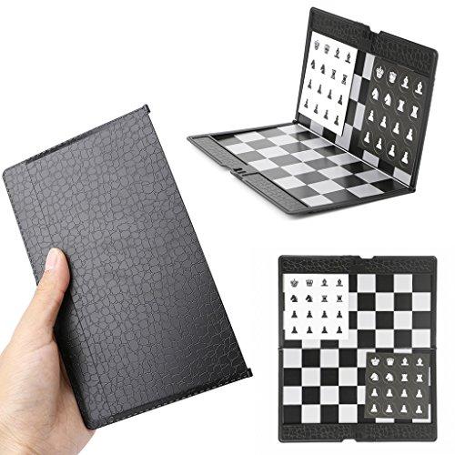PTMD Tablero de ajedrez de bolsillo, 1 juego, 20 cm x 16 cm, plástico magnético con piezas de ajedrez, para niños y adultos, mesa de juego plegable y portátil para viajes, blanco y negro