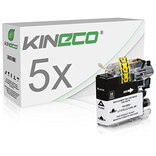 Kineco 5 Tintenpatronen kompatibel für Brother LC-121BK LC-123BK MFC-J 245 4310 4410 4510 4610 470 4710 475 650 6520 6720 6920 870 DW