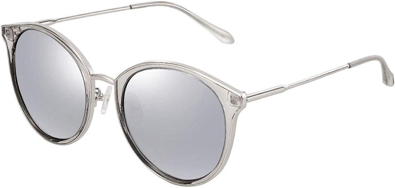 Polarized Sunglasses, Round Frame Sunglasses Women Fashion colorful Lens Cat Eye Metal Driving