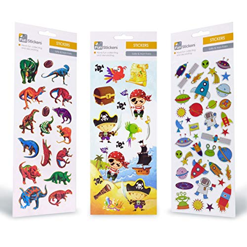 Pegatinas niños adultos - 3 láminas pegatinas dinosaurios piratas espacio - Para libretas reseñas actividad manual bolsa cumpleaños piñata recordatorios - Pegatinas geniales recompensa a los peques