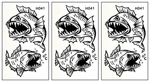 PARITA Small Tattoos Bass Fishing Sport Fish Lure Hook Animals Cartoon Temporary Tattoos Waterproof DIY Body Art Tattoo Sticker Removable Fashion Fantasy Fun Party (Pack 3 PCS.) (14)