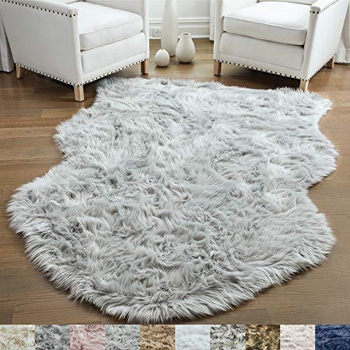 Gorilla Grip Original Premium Faux Sheepskin Fur Area Rug, 3x5, Softest, Luxurious Shag Carpet Rugs for Bedroom, Living Room, Luxury Bed Side Plush Carpets, Sheepskin, Light Gray