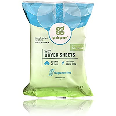 Grab Green Fragrance Free 64 Load Wet Dryer Sheets