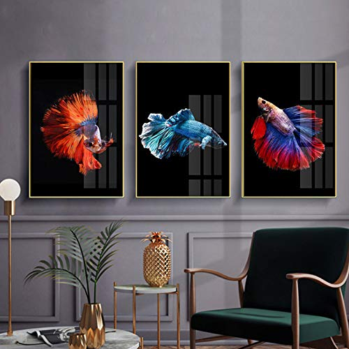 WEDSA Mural Canvas Painting Poster Decoración del hogar Blue Red Goldfish Canvas Art Abstract Print Poster Picture Wall Living Room Dormitorio Estilo nórdico Decoración del hogar 40x60cmx3 Sin Marco