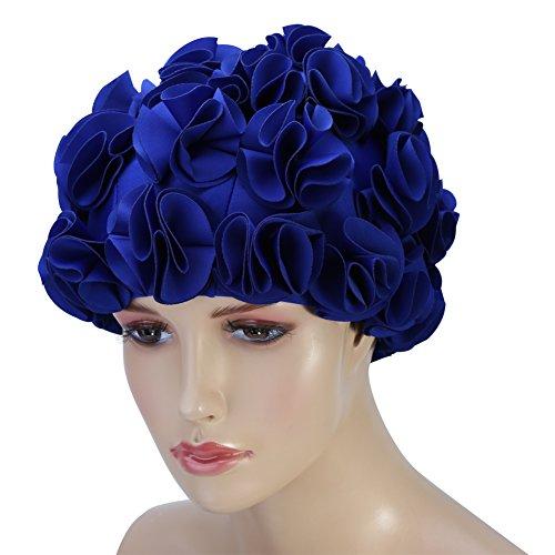 Blumen Badekappe Lange Haare Retro Damen Badehaube Rüschen Frauen Erwachsene Kinder Retro Blumen Blütenblatt Schwimmen Hüte Mode Elastische Lange Haare Schwimmen Badekappe(Blau)