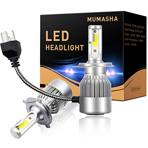 LED Headlight Bulbs Headlight bulb H4 9003 Hi/Low All-in-One Conversion Kit Led headlights with COB Chips 8000 Lm 6500K Cool White Beam Bulbs IP68 Waterproof