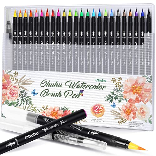 Professional Watercolor Brush Markers Pen 24 Colors of Ohuhu, Water Based Drawing Marker Brushes W/A Blending Aqua Pen, Water Soluble for Adult Coloring Books Comic Calligraphy Back to School