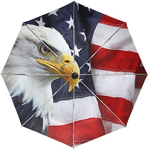 ASDF Automatic Umbrellas Bald Eagle American Flag Anti-Slip Windproof Compact Rain Umbrella for Women Men
