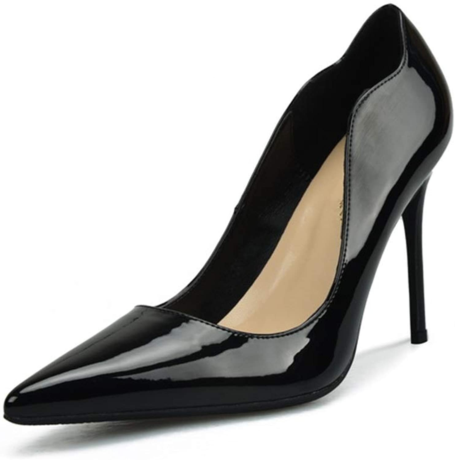 ZerenQ D'Orsay Pumps for Women High Stiletto Heels Patent PU Leather Sexy Pointed Toe Classic Dress shoes for Ladies Durable (color   Black 8 cm Heel, Size   32 EU)