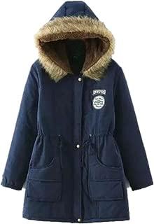 AOJIAN Winter Women Warm Long Sleeve Coat Faux Fur Collar Hooded Zipper Button lace Up Parka Outwear