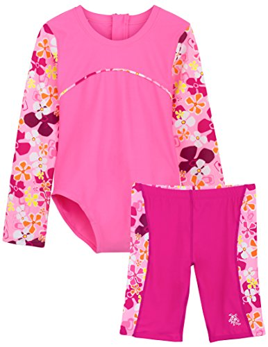 Tuga Girls 1-PC Swimsuit & Swim Jammer Short Set (UPF 50+), Misty Pink, 11/12 yrs