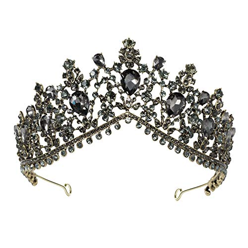 SWEETV Gothic Chic Black Wedding Tiara for Women, Bridal Crown Princess Tiara Headband, Costume Party Accessories for Prom Halloween Pageant