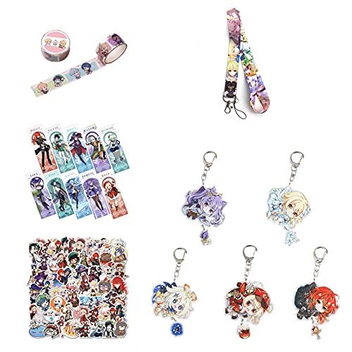 Saicowordist Genshin Impact - Kit de regalo para fans del anime, incluye 50 pegatinas, 10 marcapáginas, 5 llaveros, 1 cordón y 1 cinta adhesiva