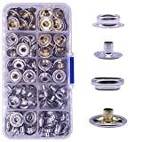 160 Pcs Snaps Fastener, (Marine Grade, 40 of Each Piece Caps/Studs / 3/8' Sockets/Posts) Heavy Duty Metal Snaps Button for Boat Canvas by YZS, 40 Sets