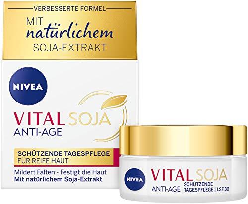 NIVEA VITAL Soja Schützende Tagespflege LSF 30 (50 ml), straffende Formel mit natürlichem Soja-Extrakt, Feuchtigkeitspflege mit hohem Schutz für gemilderte Falten