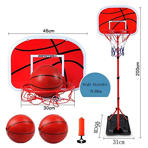 LQH Tragbare Junior Basketballkorb mit Ball-Amp;Pumpe Spielen Sport Set Kids Basketball Einstellbare 70-200Cm Freistehende Indoor Outdoor Garden Beach-Party-Spaß-Standplatz