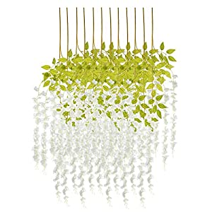 EZFLOWERY 12 Pack 3.6 Feet Artificial Wisteria Vine Hanging Rattan Garland Silk Flower for Wedding Party Home Garden Outdoor Ceremony Floral Décor (12, White)