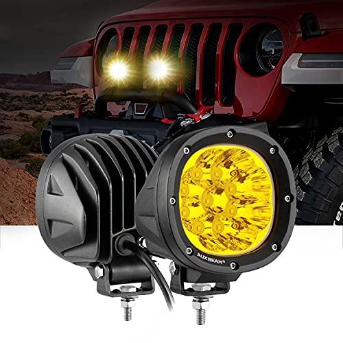 Auxbeam 40W Round Driving Light, 4 Inch 2PCS Amber Fog Lights with 3535 LED Spot Beam Light Yellow White for Truck Pickup SUV ATV UTV 4x4 Jeep Wrangler