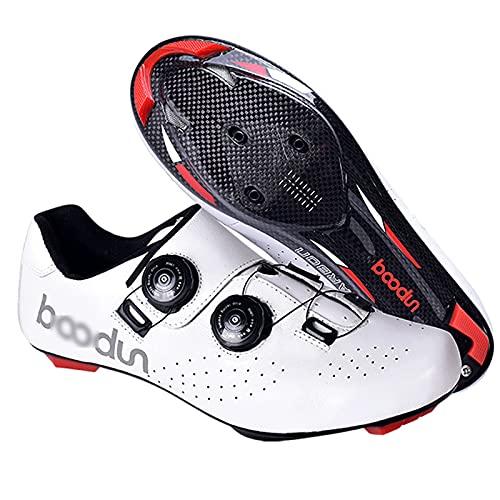 JYSSH Scarpe da Ciclismo MTB da Uomo Donna,Scarpe da Ciclismo su Strada in Pelle Scarpe Bici da Corsa Scarpe Ciclismo Strada Traspirante Anti-Scivolo Scarpe da Bici per Ciclismo All'Aperto,White-39