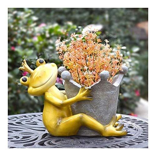 Estatuas para jardín Adornos de Jardín Ornamentos del jardín al aire libre de la Pastoral de la resina de la rana Tiesto Adornos Arte Jardín Balcón Figurines Decoración patio al aire libre Muebles man