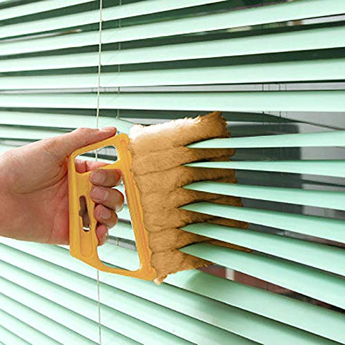 7 Finger Dusting Cleaner Tool, Mini Hand-held Blind Cleaner Duster, Abundant Bristles Blinds Cleaner Tool with Microfiber for Window Shutters