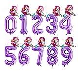 JSJJARF Globos 2 Piezas de 40 Pulgadas de Aluminio Partido Globos púrpura Digital Globo Mini Sirena 0-9 decoración de Feliz cumpleaños (Color : 2, Shape : 6)