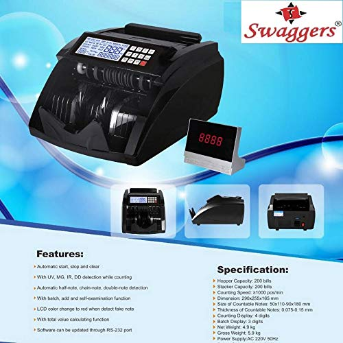 swaggers Latest Updated Money Counting Machine for New Notes 50,200,500,1000,2000