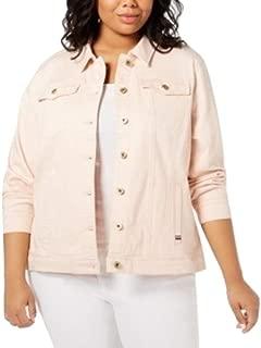 Plus Size Denim Jacket Pink 2X