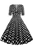MisShow Damen 1950er Vintage Petticoat Kleider Hohe Taille V Ausschnitt Winterkleider Polka Dots B# S