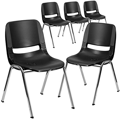 Flash Furniture 5 Pack HERCULES Series 440 lb. Capacity Kid's Black Ergonomic Shell Stack Chair with Chrome Frame and 14' Seat Height