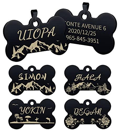 Uiopa Hundemarke mit Gravur, Knochen Adressanhänger Hund Hundeanhänger mit Gravur, Personalisiert Hundemarke und Katzenmarke Namen Plakette für Hunde und Katzen Graviert (Schwarz Berg, Groß)
